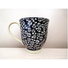 全新 陶瓷花花杯 (藍色)