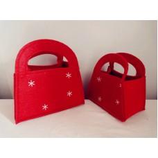 全新 紅色絨布手挽袋仔 2個一套