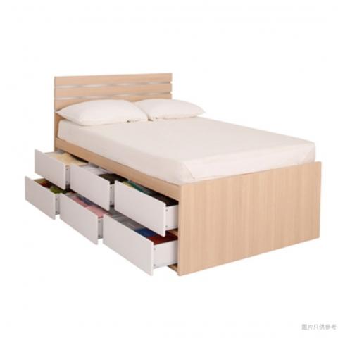 Staple 48吋x72吋波浪紋木屏六桶床 (橡木色配白色)