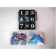 全新 橡皮 擦膠 (海豚/魚/數字) 3 包