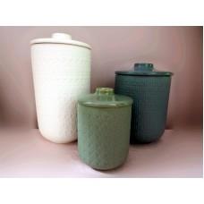 全新 陶瓷瓶 器皿 3個一套 (白/藍/綠)