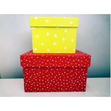 全新 方形紙盒 2個一套 (紅/黃)