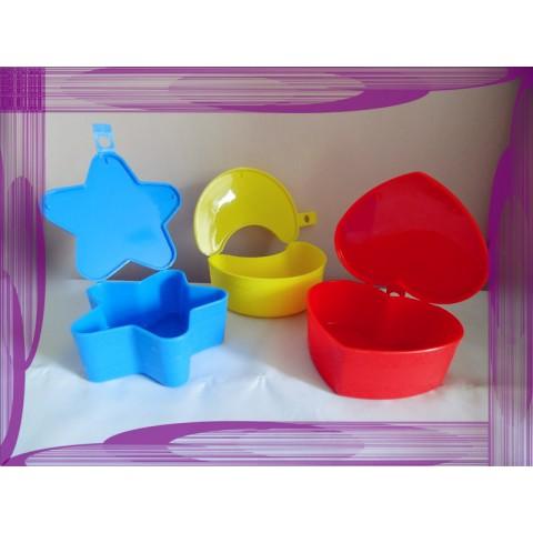 全新 膠盒 心形 星形 月形 一套 3 個
