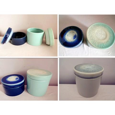 全新 陶瓷瓶器皿3個一套 (藍/綠/啡)