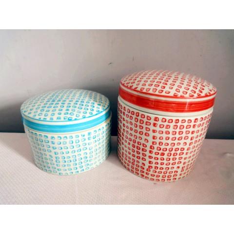 全新 陶瓷瓶器皿2個一套 (藍/紅)