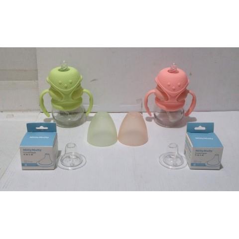 奶瓶 Milly Mally粉綠、粉紅 共兩套。3D 硅膠立体仿生奶咀,無致癌物質雙酚A,柔軟富彈性。耐高溫、防震 玻璃 容量 5oz. / 150 ml.