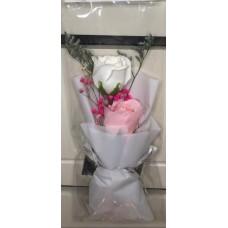白色玫瑰香皂花 (有燈) 母親節禮物
