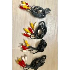 95%新 4條 RCA 線 Audio-Video line cable 每條有紅白黃三組 兩端插頭,長1米