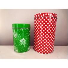 全新 圓形鐵盒 (紅色/綠色) 2 個