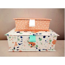 全新 長方形 紙盒 2個一套 (白花/粉紅)