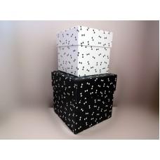 全新 正方形 紙盒 2個一套 (黑白)