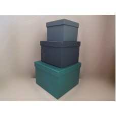 全新 方形 紙盒 3個一套 (藍綠)