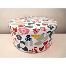 全新 圓形鐵盒 (花花)