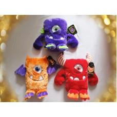 全新 Keel Toys 怪獸 毛公仔 (紫/橙/紅) 3 個