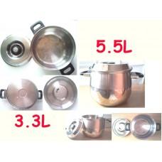 Kinox 20cm不銹鋼雙耳煲連不銹鋼蓋 (3.3L) 及 (5.5L)