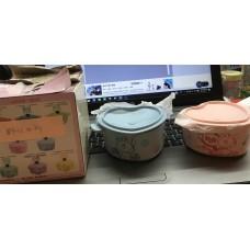 平售 全新 7-11 Line Friends Choco , Choco Pangyo 心形鍋 貯物盒連蓋 Choco 現貨 粉籃+粉紅色 一套