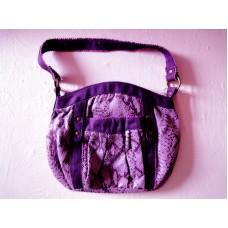 全新 紫色花紋小手袋