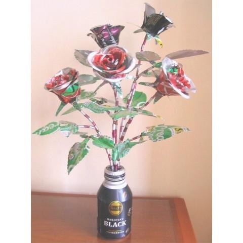 (新淨) 玫瑰花5枝連花瓶 (鋁罐製)