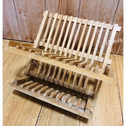 木製摺疊收納碗碟瀝乾架-尺寸:35cm x 30cm x 23cm