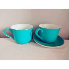 全新 陶瓷杯連碟一套 (藍綠色)