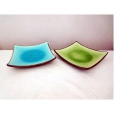 全新 陶瓷碟 (藍/綠) 2 隻