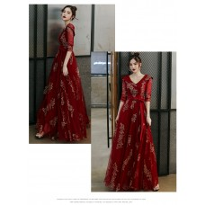 敬酒服新娘秋冬酒红色长袖结婚平时可穿回门便装晚礼服女红裙冬天